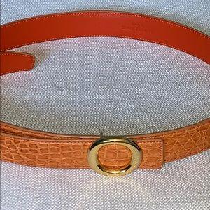 "Laurent Effel Orange Crocodile Leather Belt 31-39"""